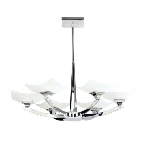 6 Light Ceiling Fitting In Chrome With Decorative Glass Shades AYRES-6CH